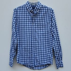 OLD NAVY Blue White check long sleeve shirt SMALL